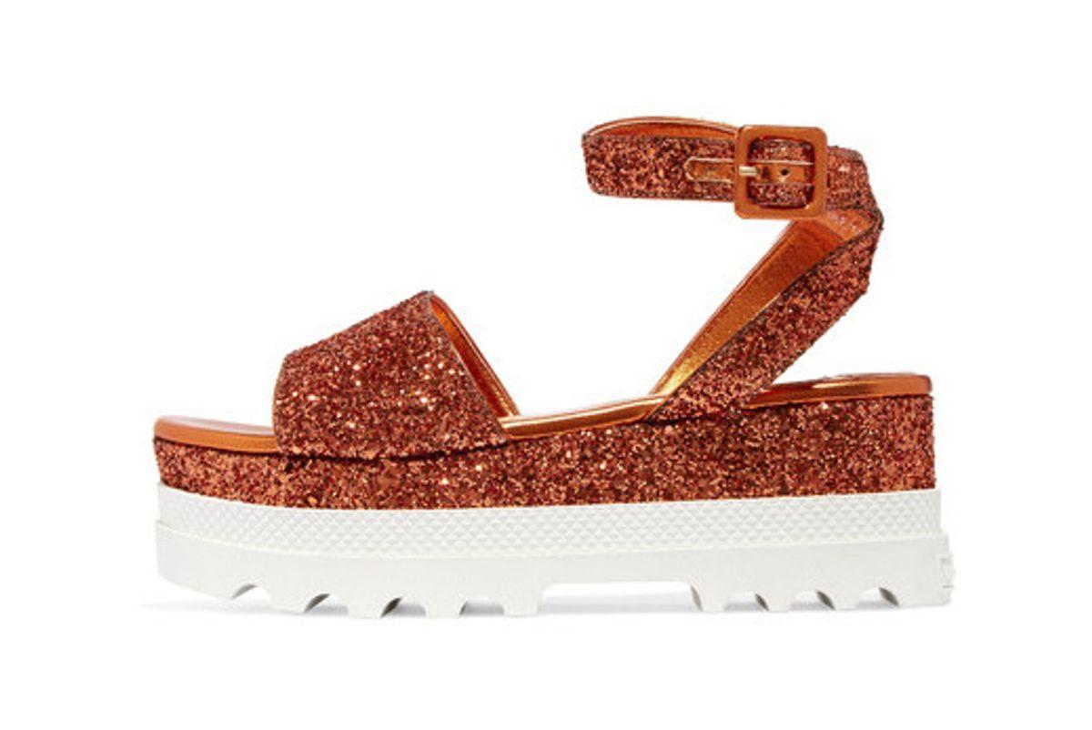 Glittered Leather Platform Sandals