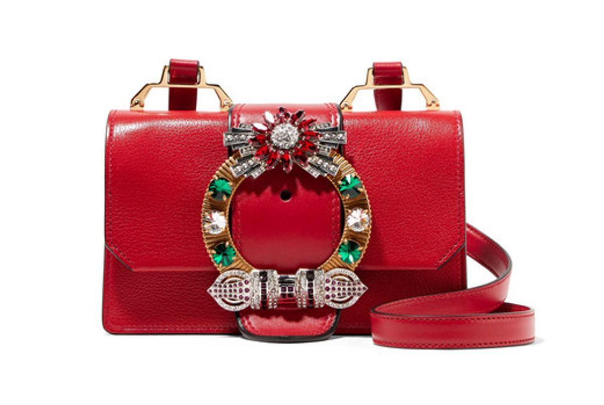 Lady Embellished Textured-leather Shoulder Bag