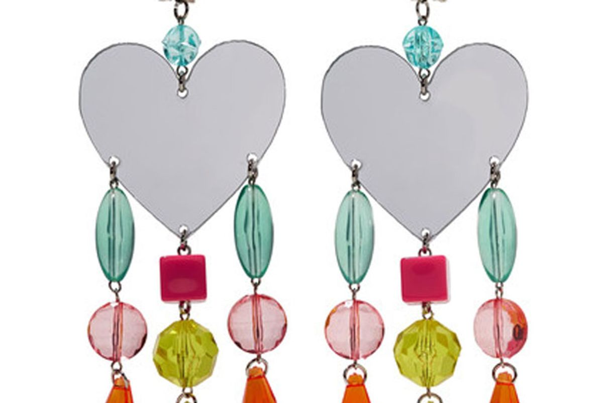 Silver-Tone, Plexiglas and Crystal Clip Earrings