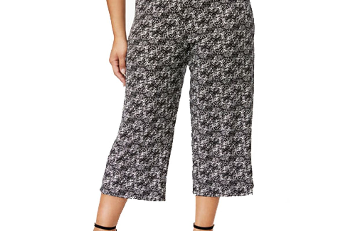 Plus Size Printed Knit Culottes