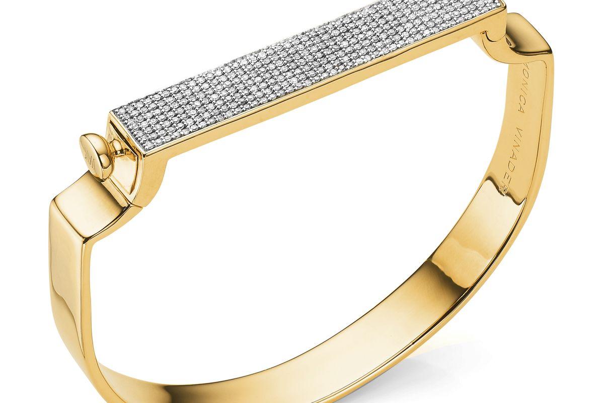 monica vinader signature bangle in gold diamond