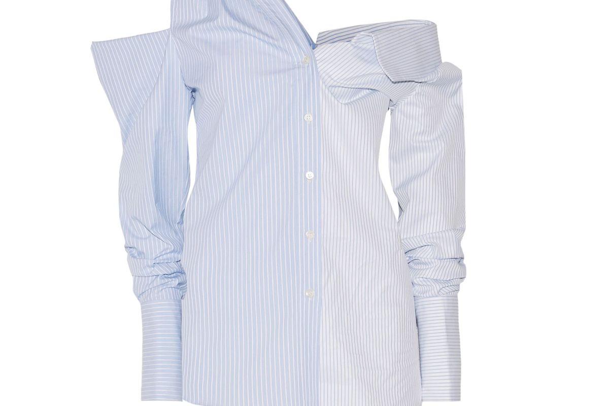 monse off the shoulder asymmetric striped cotton dobby shirt