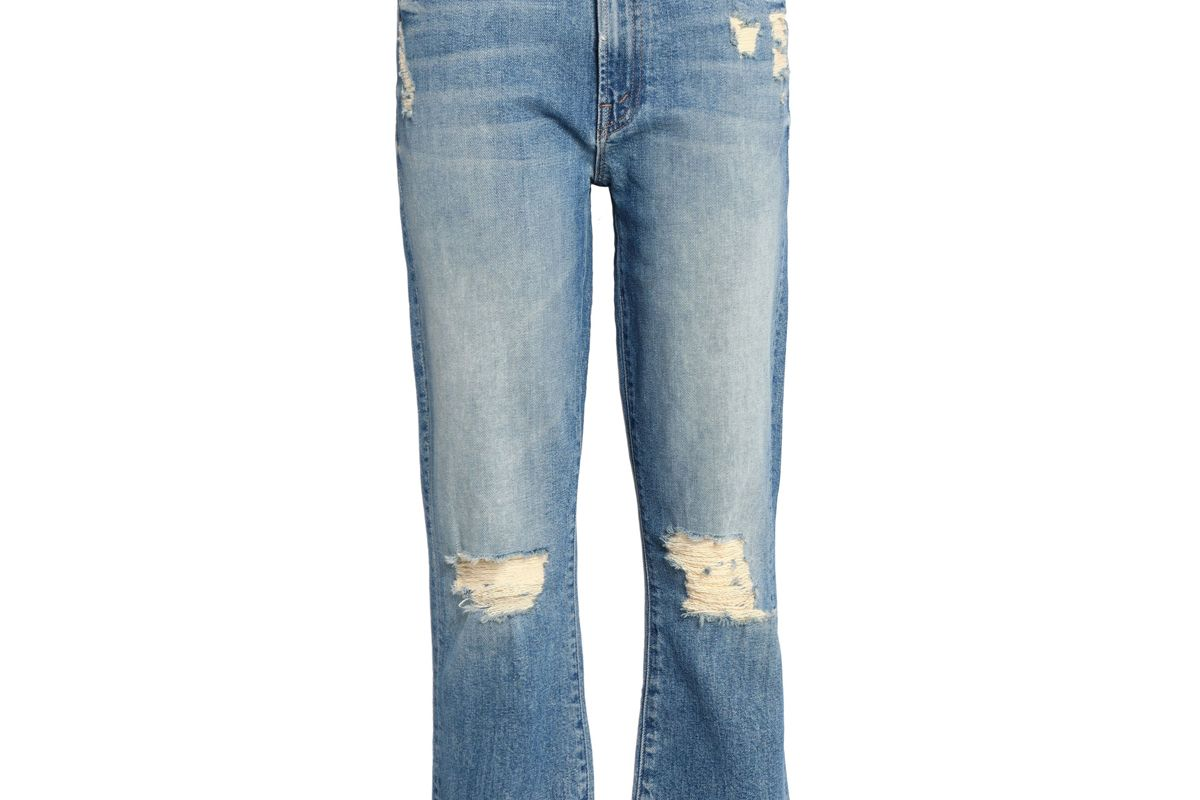 mother cropped distressed high rise slim leg jeans