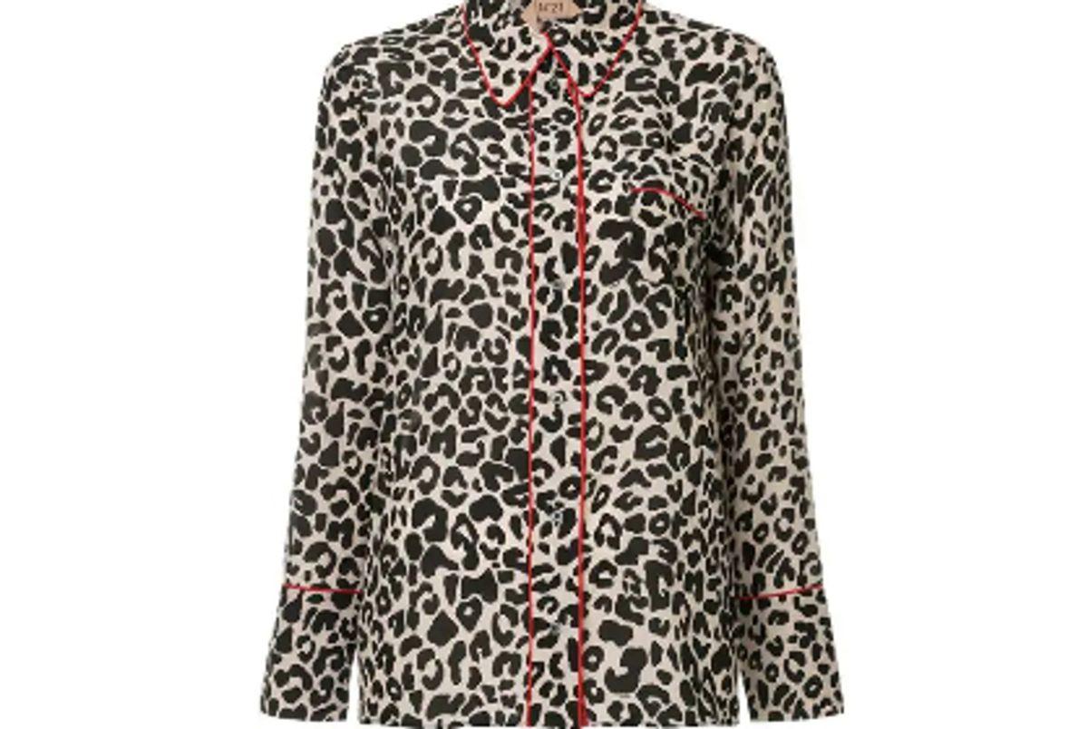 n21 leopard print pyjama shirt