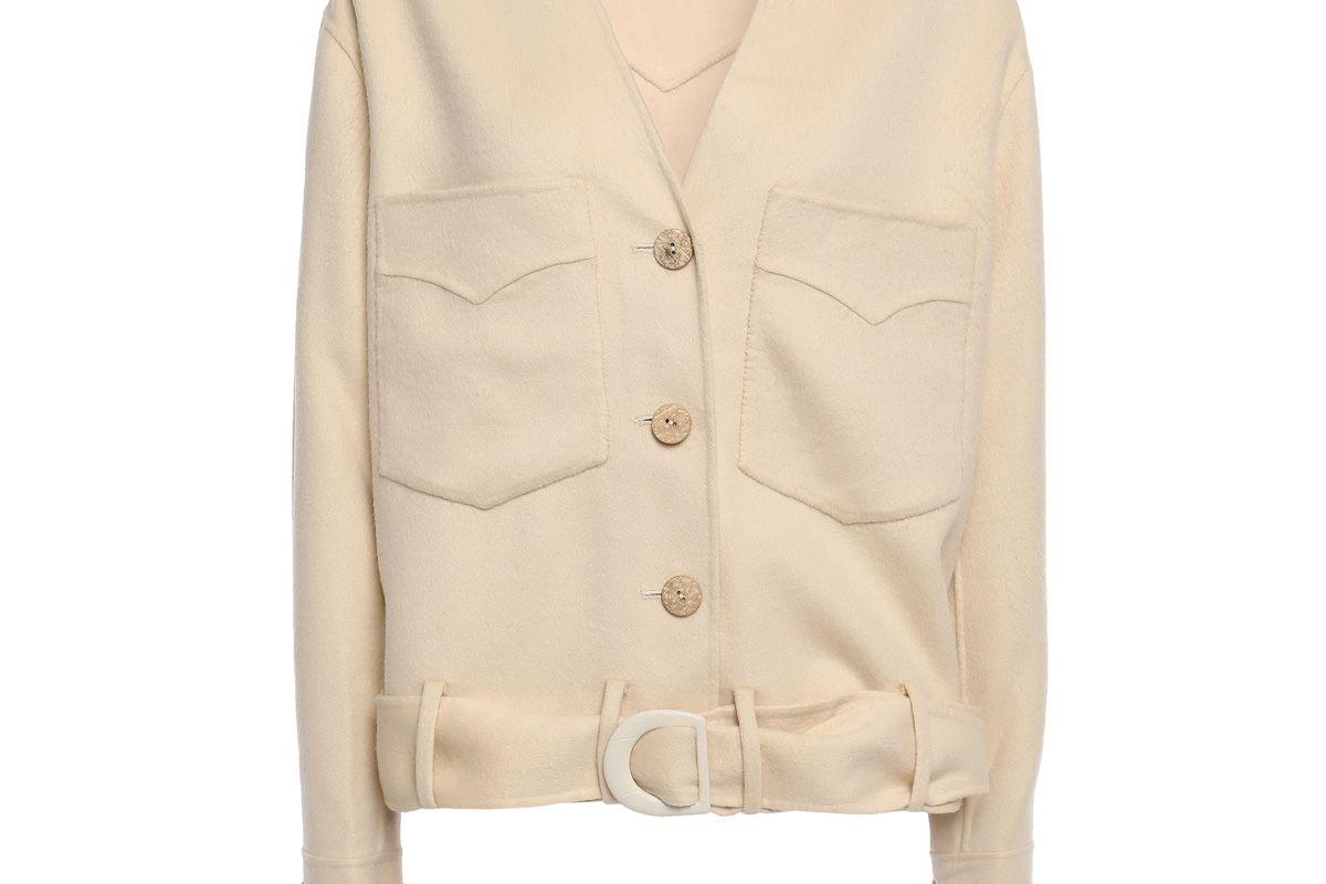 nanushka iman belted wool and silk blend jacket