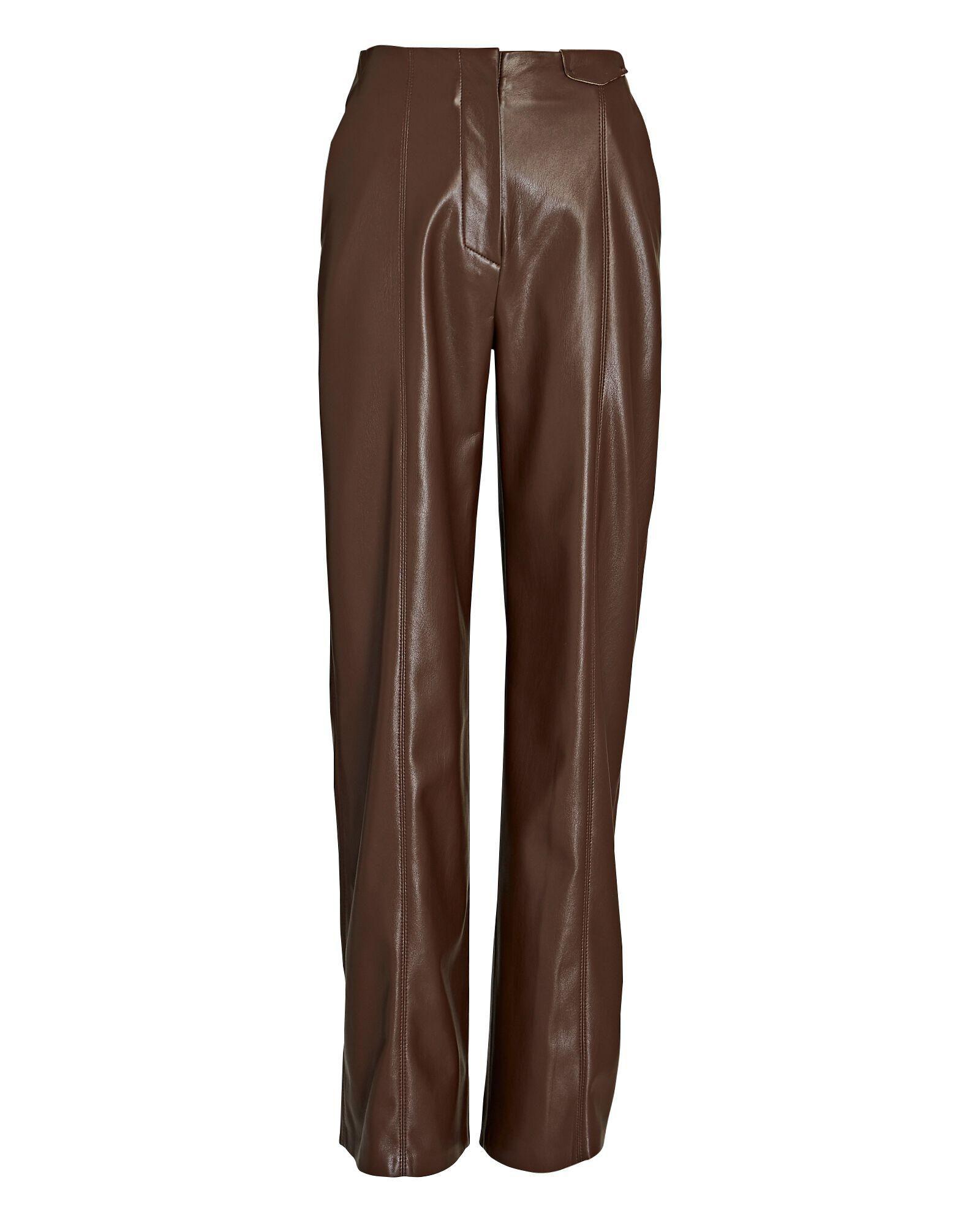 nanushka namas wide leg vegan leather pants