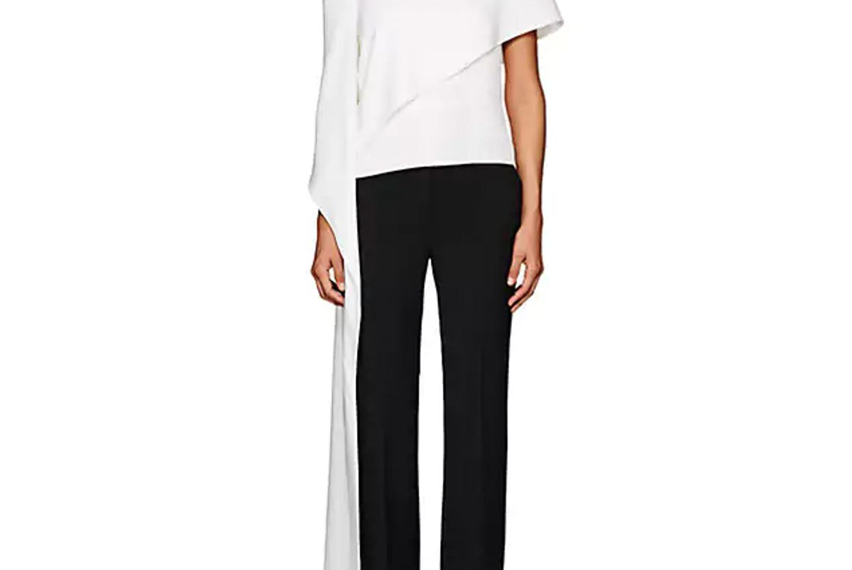 narciso rodriguez hammered silk off-the-shoulder blouse