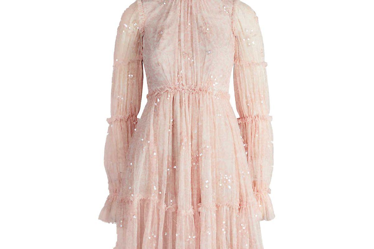needle and thread anya ruffled embellished tulle mini dress