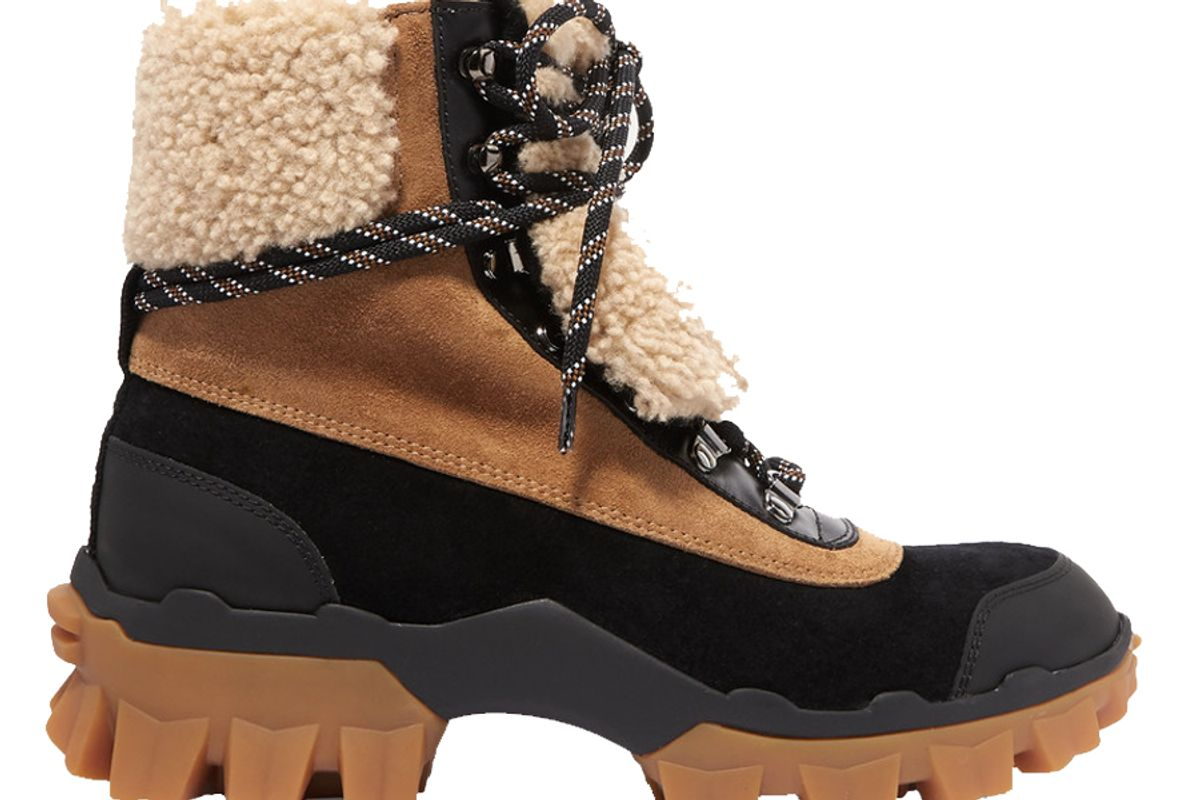 moncler harrriet suede shearling and leather ankle boots