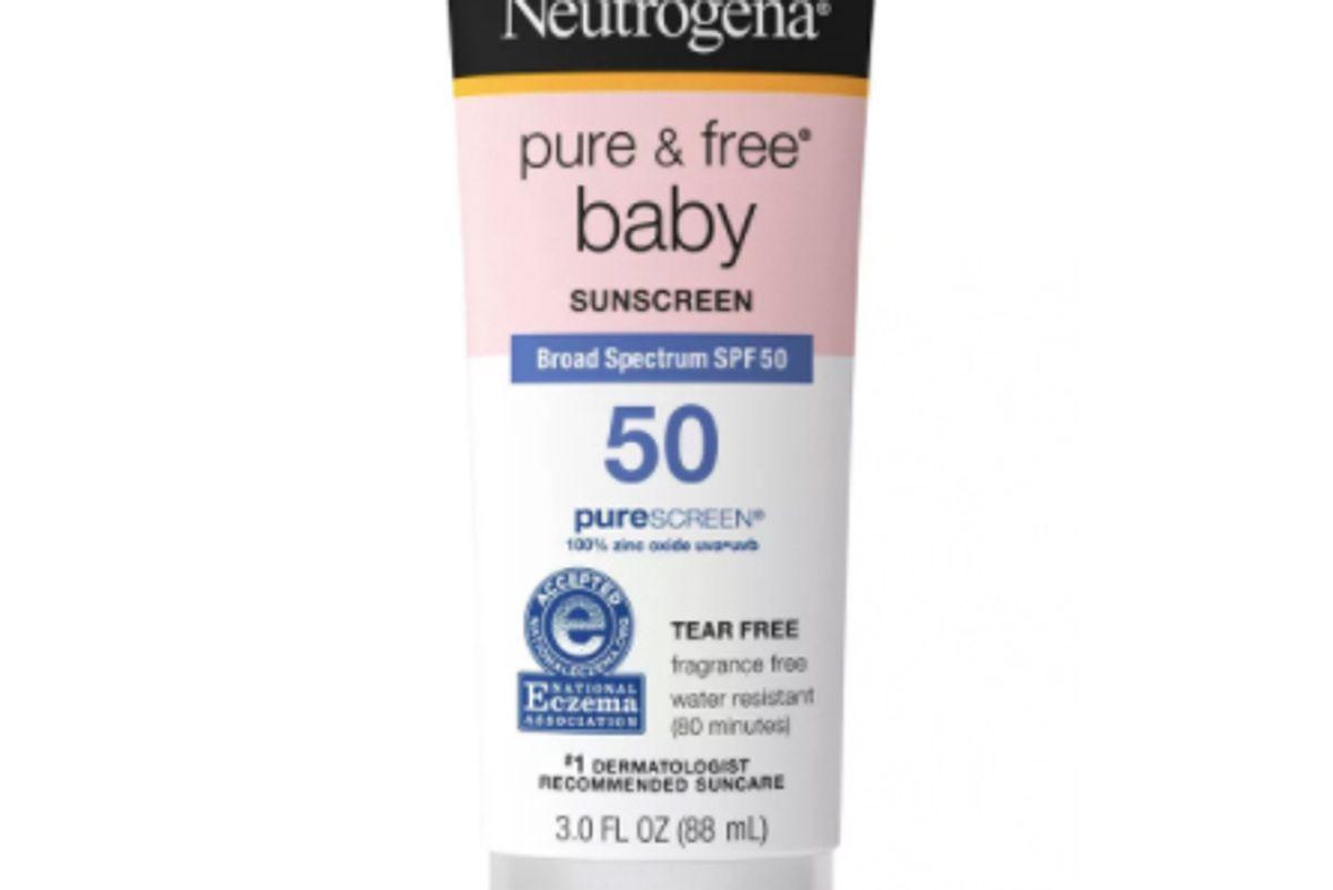 neutrogena pure and free baby sunscreen lotion spf 50