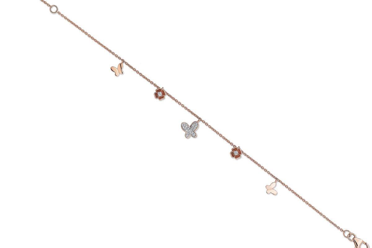 nicole rose diamond butterfly charm bracelet