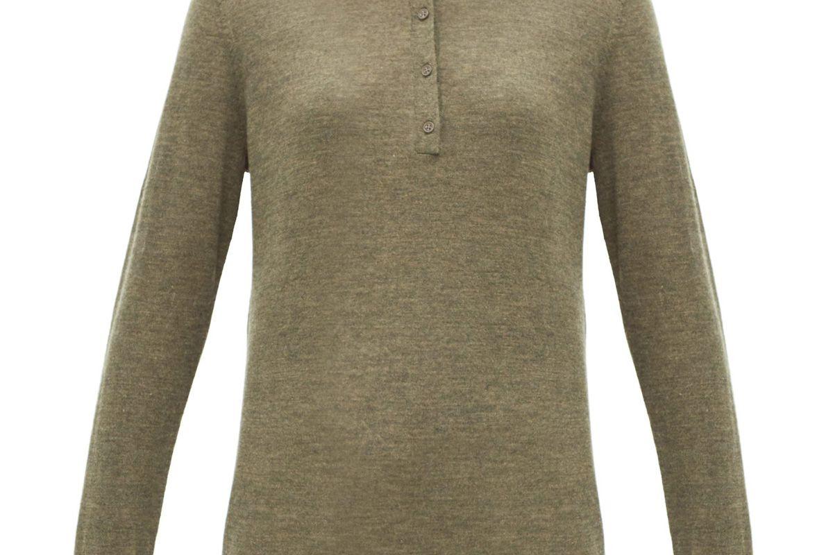 nili lotan cashmere long sleeved polo shirt