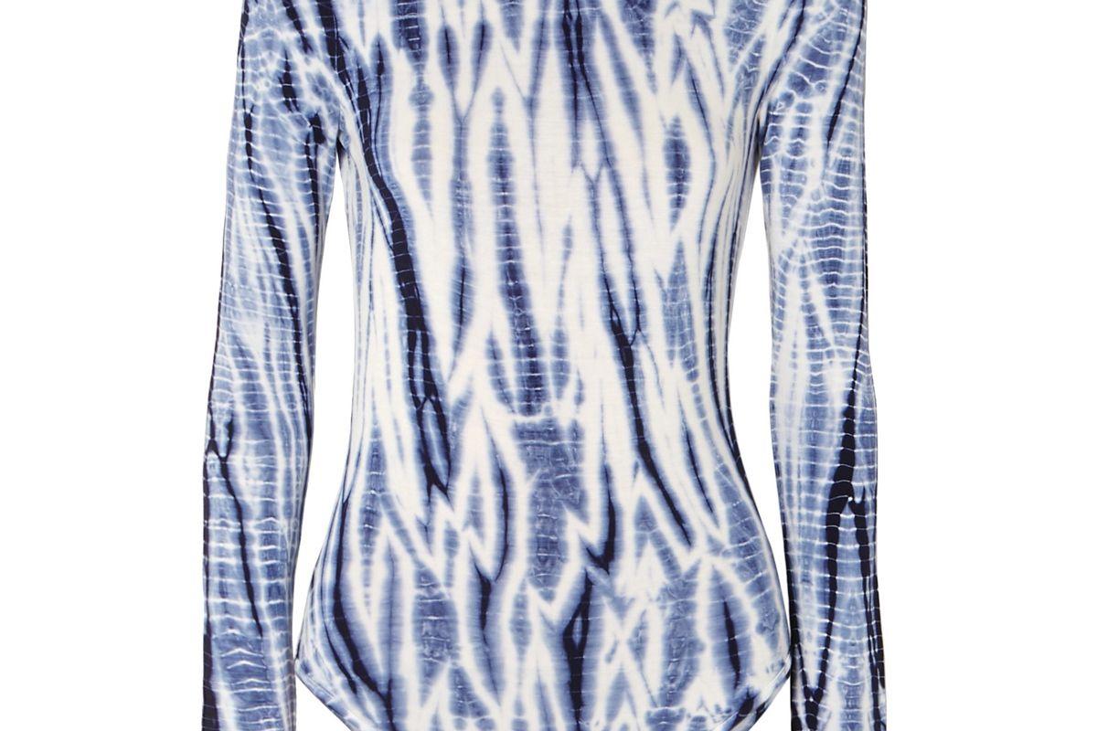 ninety percent net sustain open back tie dyed stretch tencel bodysuit