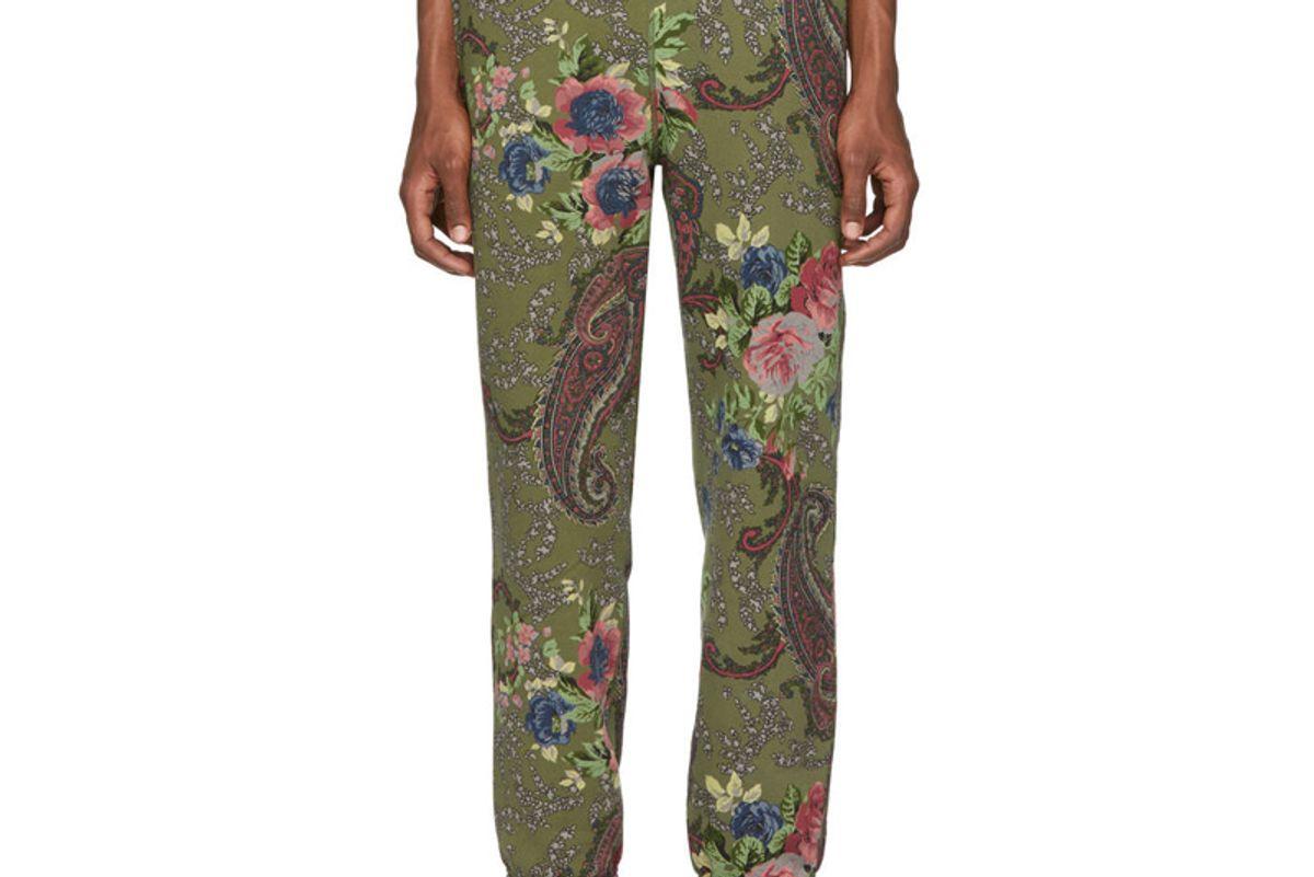 noah nyc green paisley lounge pants