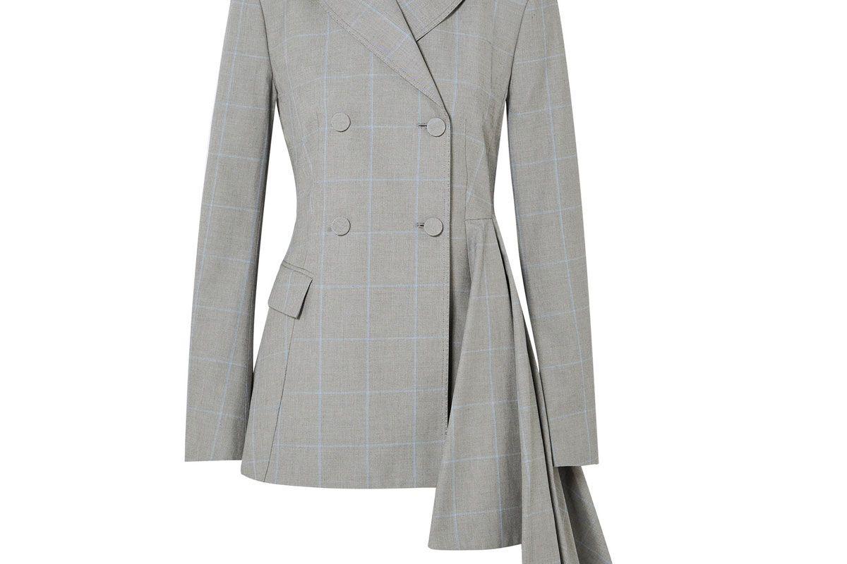 off-white asymmetric checked cotton blazer