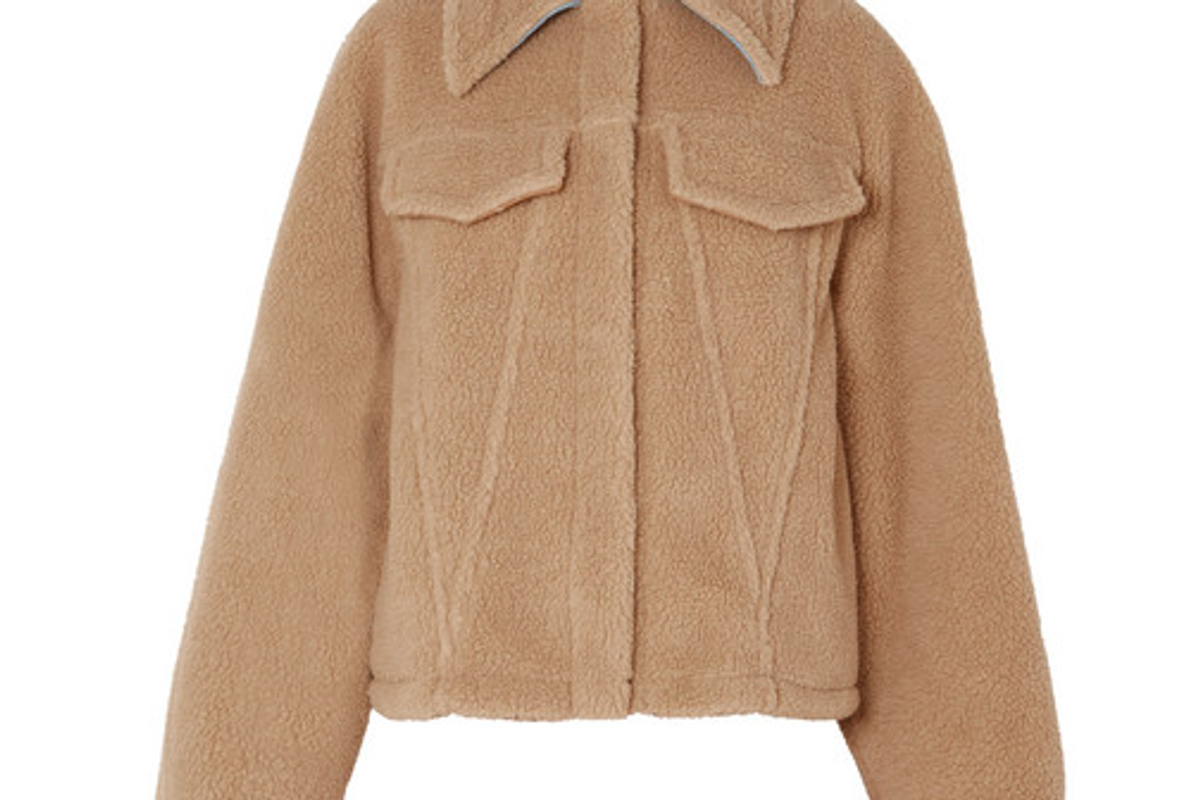off white bear denim trimmed faux shearling jacket