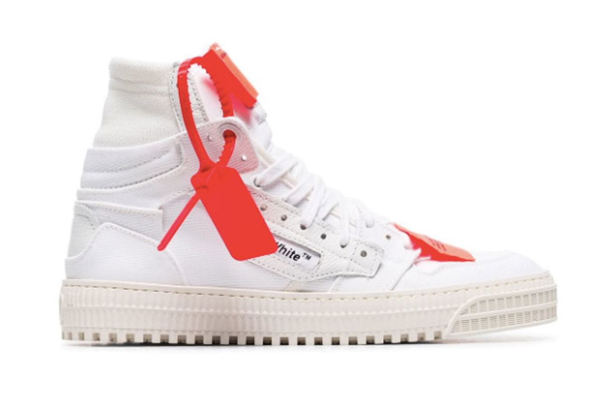 off white white off court canvas and leather high top sneakers