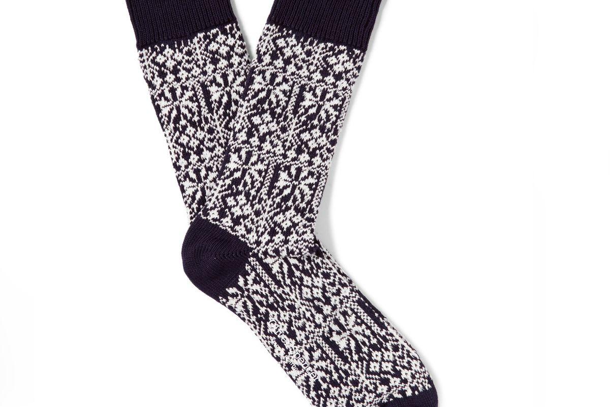 Fair Isle Stretch Cotton-Blend Socks