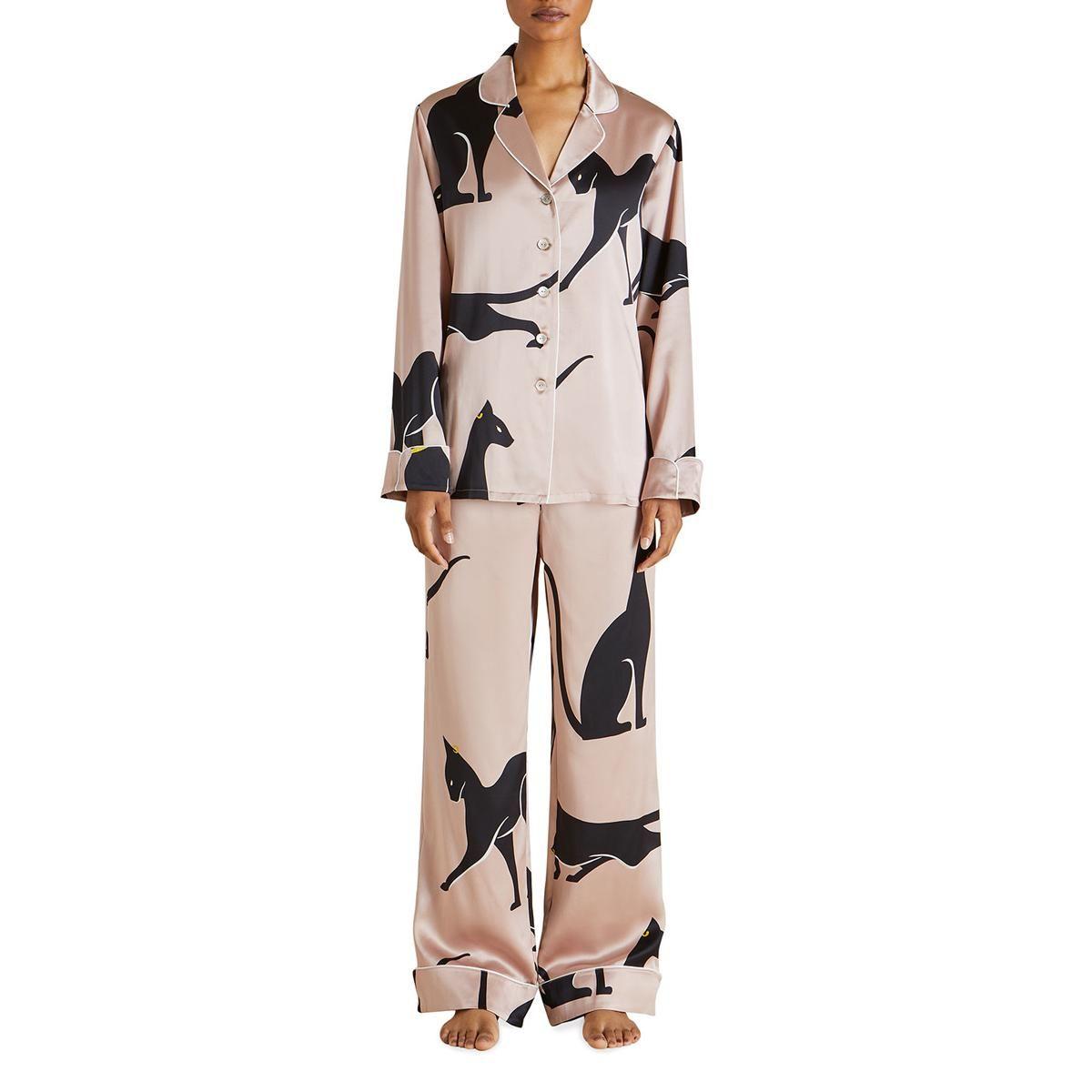 olivia von halle lila animal print silk pajama set
