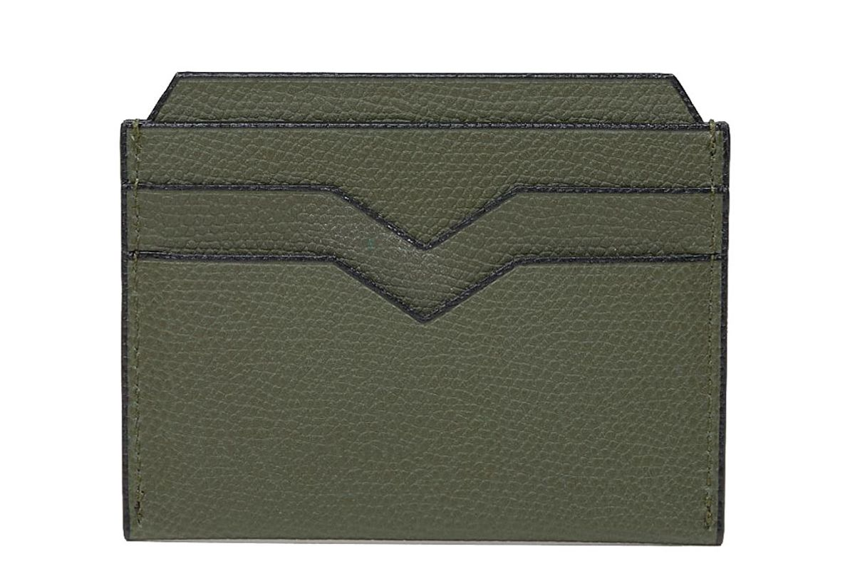 valextra leather card case green