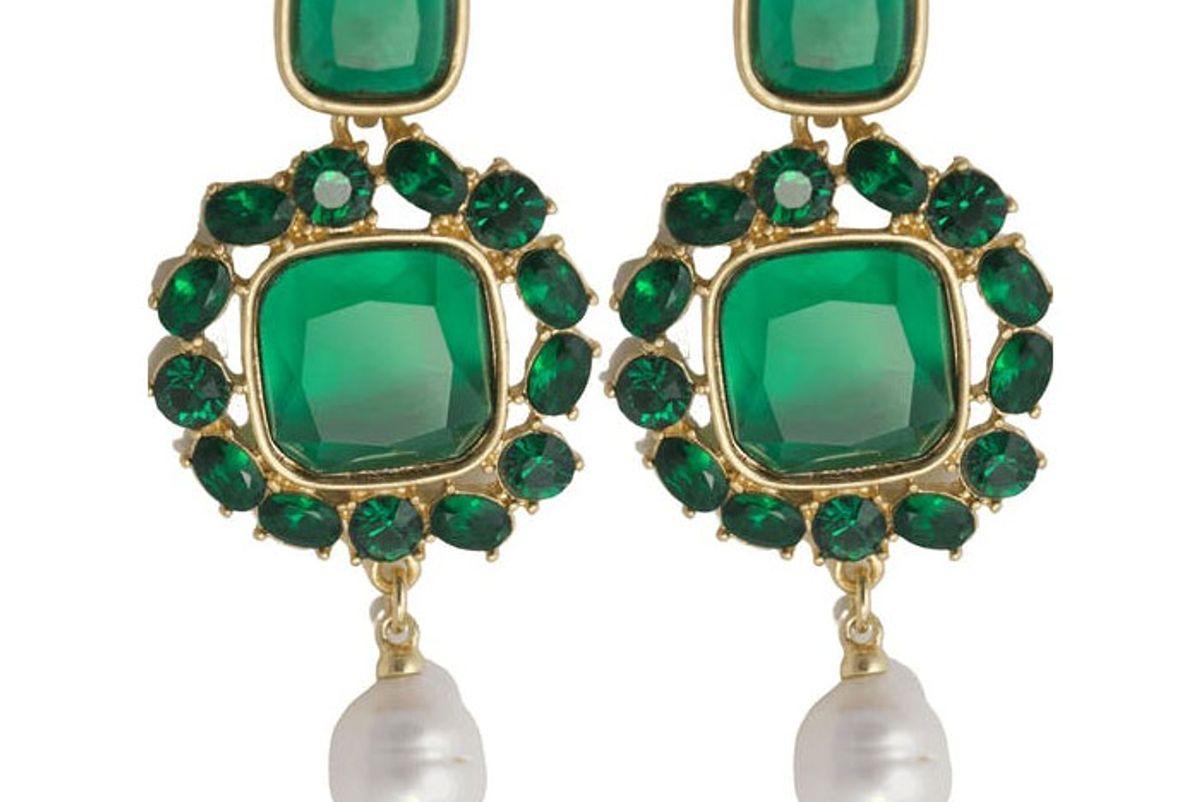 oscar de la renta 90s emerald pearl earrings