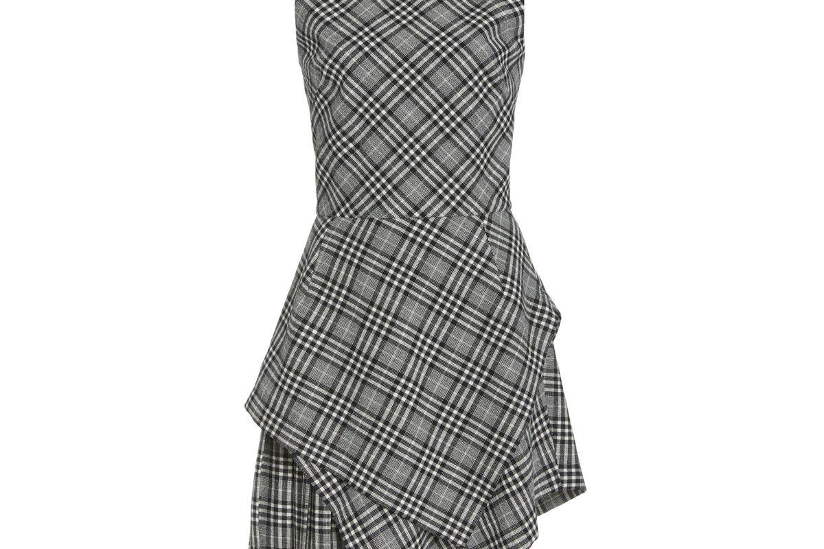 oscar de la renta asymmetric hem plaid wool blend dress