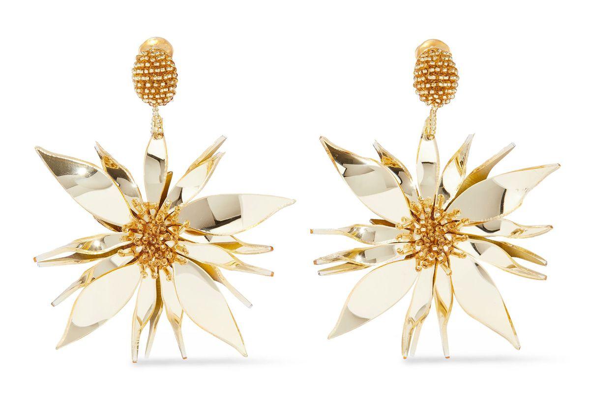 oscar de la renta bead and resin clip earrings