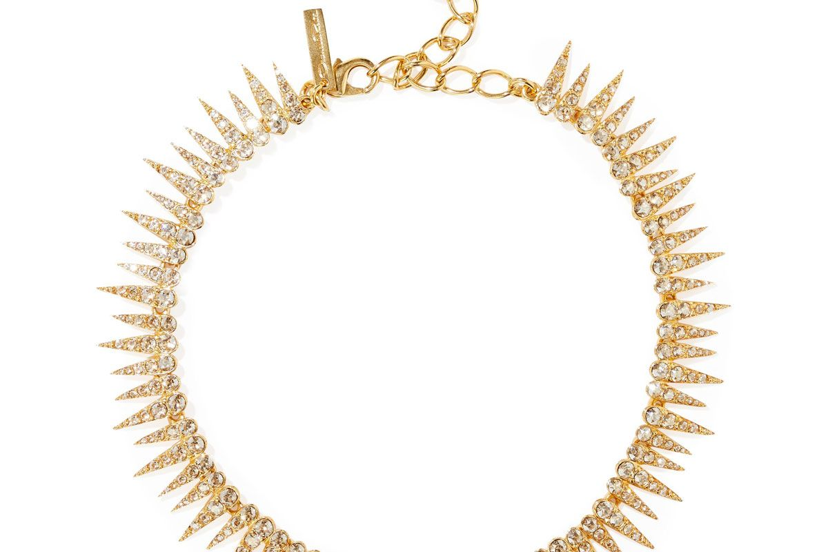 oscar de la renta gold tone crystal necklace