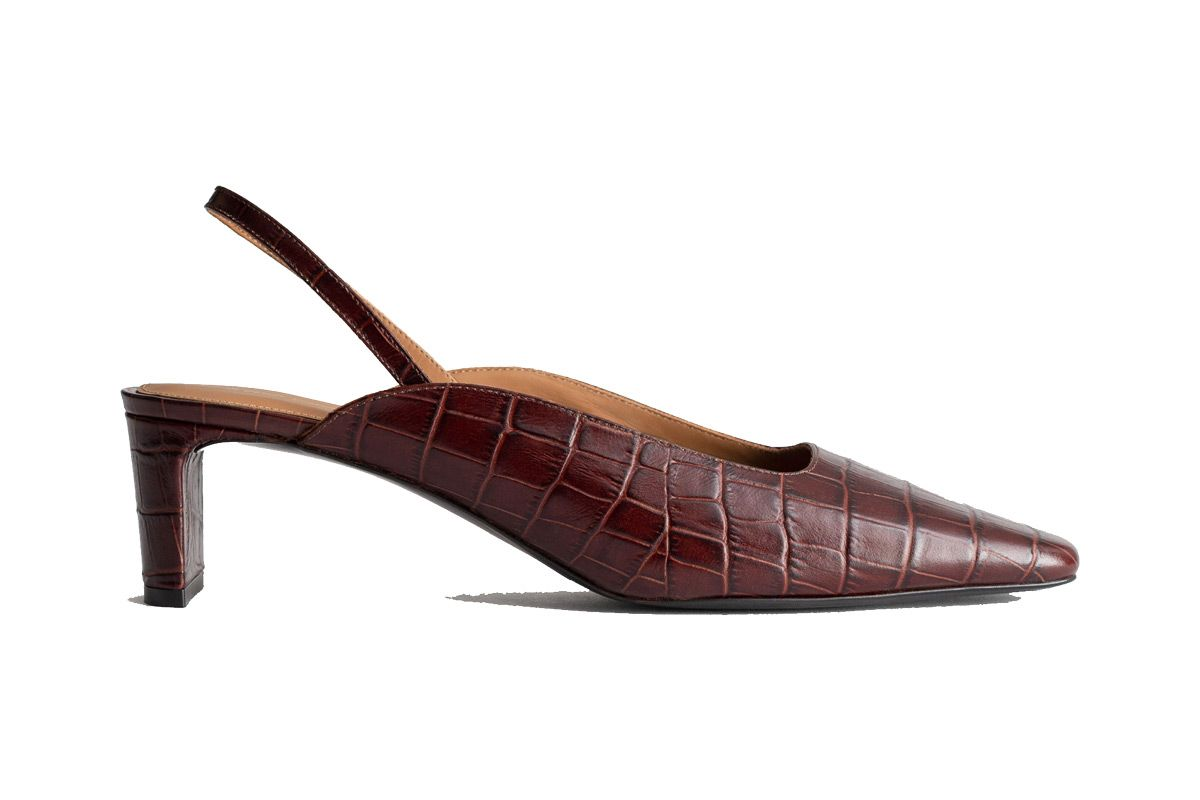 and other stories croc print square toe kitten heel sling back shoes in brown