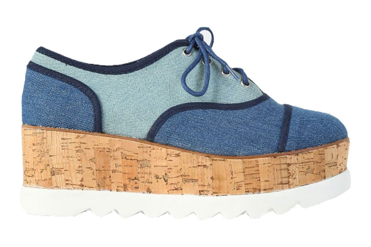 Oxford Style Eyelet Lace Up Flatform Sneakers Blue Denim