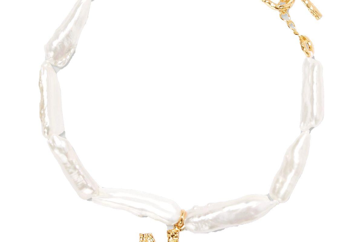pacharee alphabet gold plated pearl bracelet
