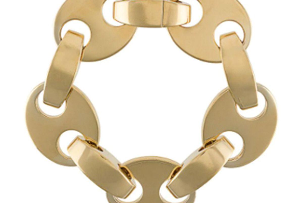 paco rabanne gold tone disc clasp bracelet