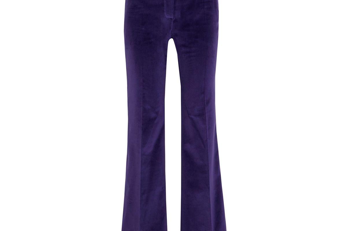 pallas satin trimmed cotton velvet flared pants