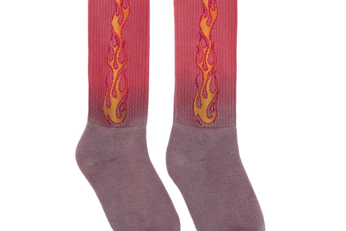 palm angels purple and red flame socks