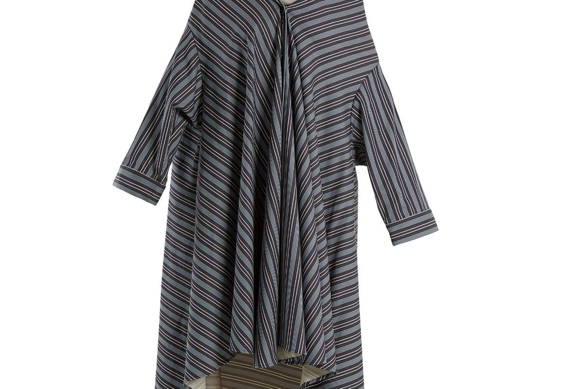 Off-the-Shoulder Striped Cotton-Blend Dress