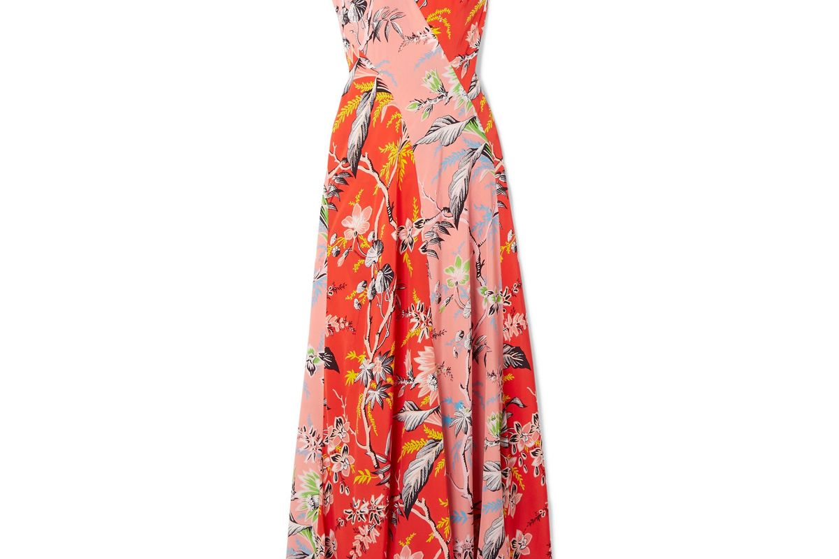 diane von furstenberg paneled floral print silk crepe de chine maxi dress