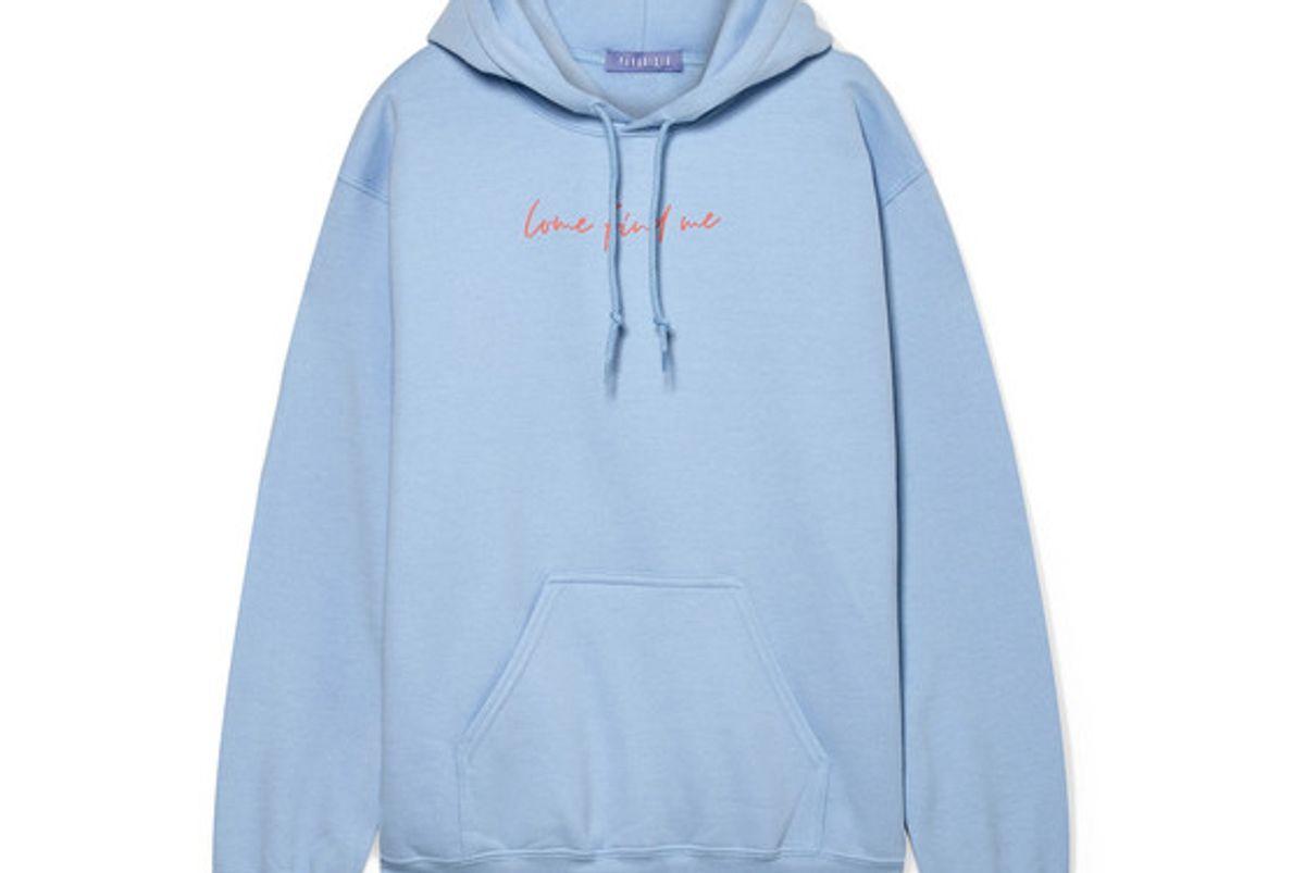 paradised printed cotton blend fleece hoodie