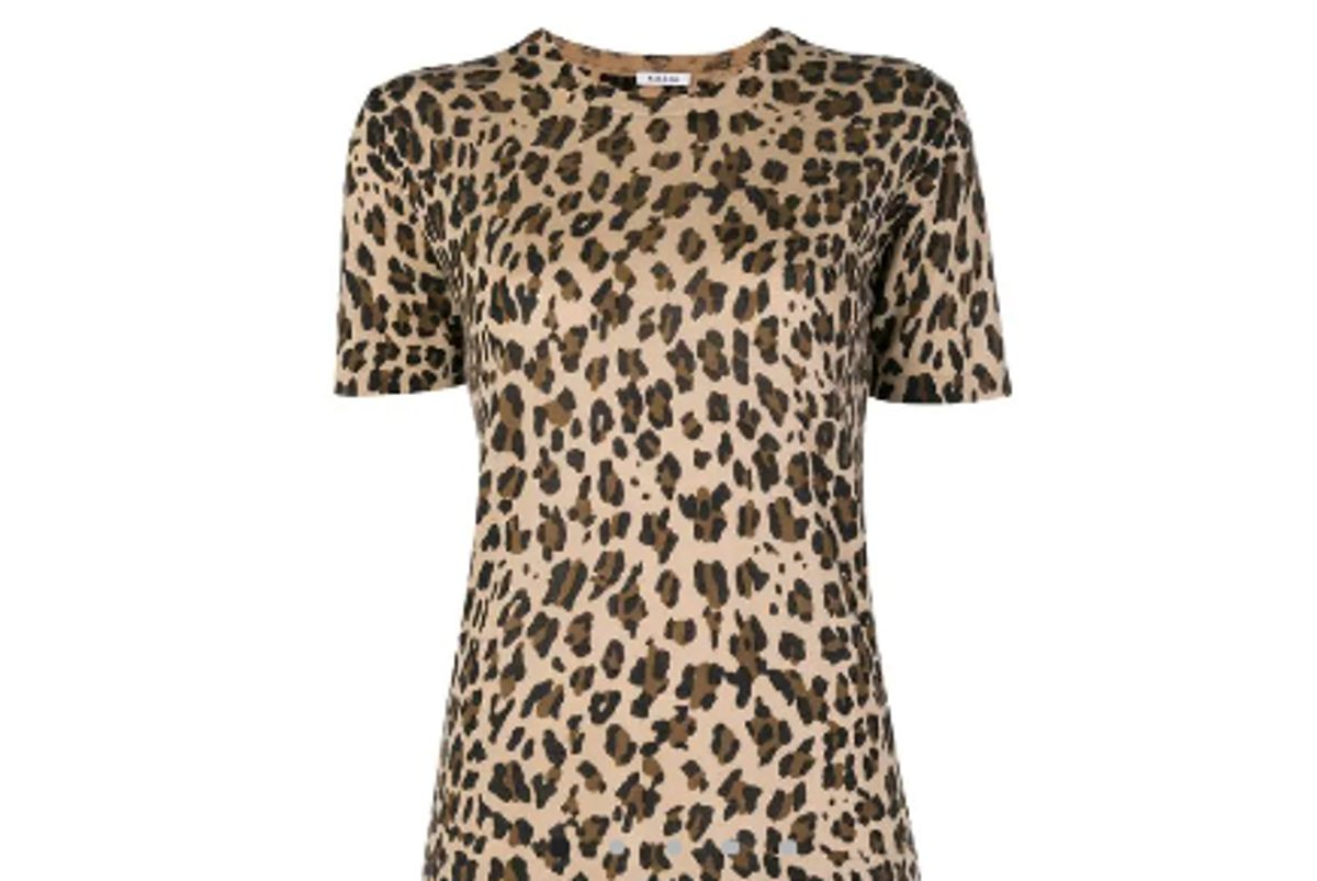 parosh leopard print knitted t shirt