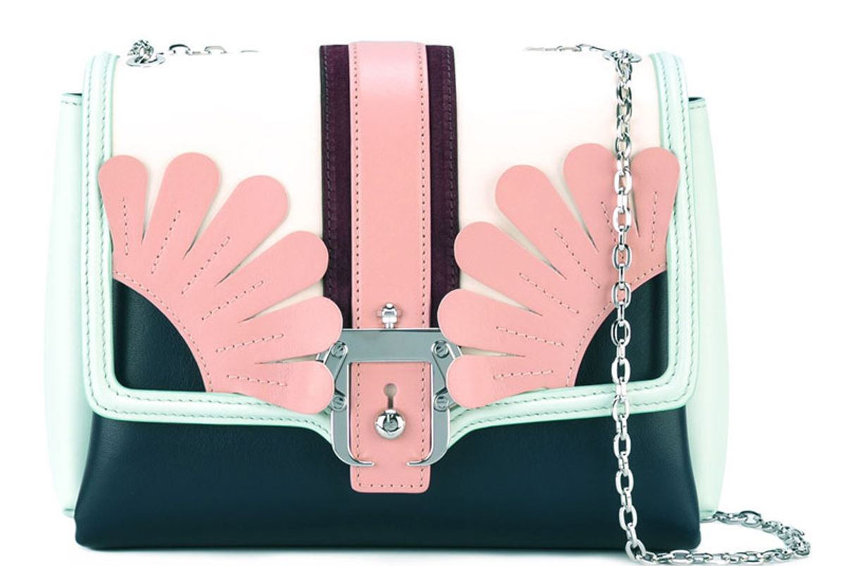 Floral Detail Bag With Silver Tone Shoulder Chain