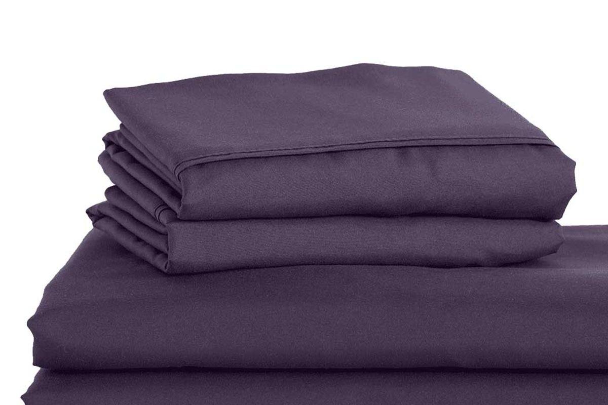 peach skinsheets eggplant sheet set