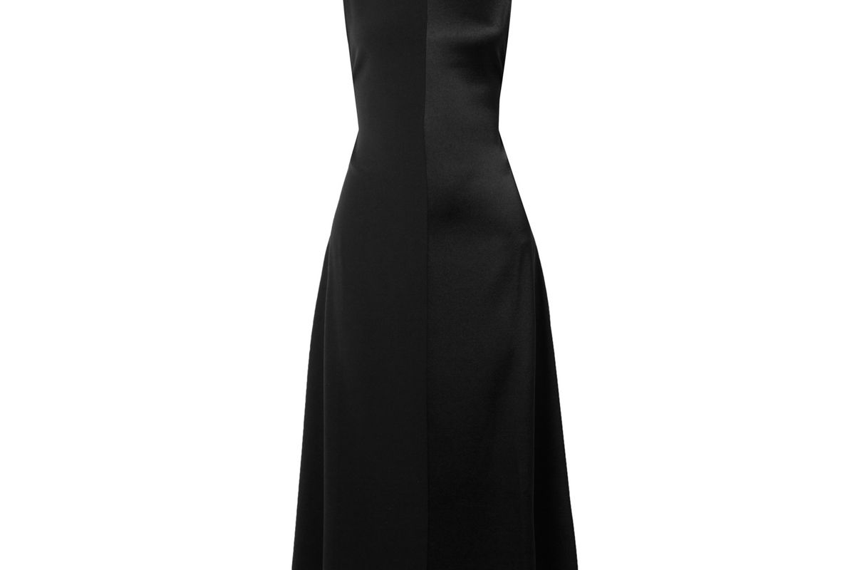peter do open back paneled satin and crepe midi dress