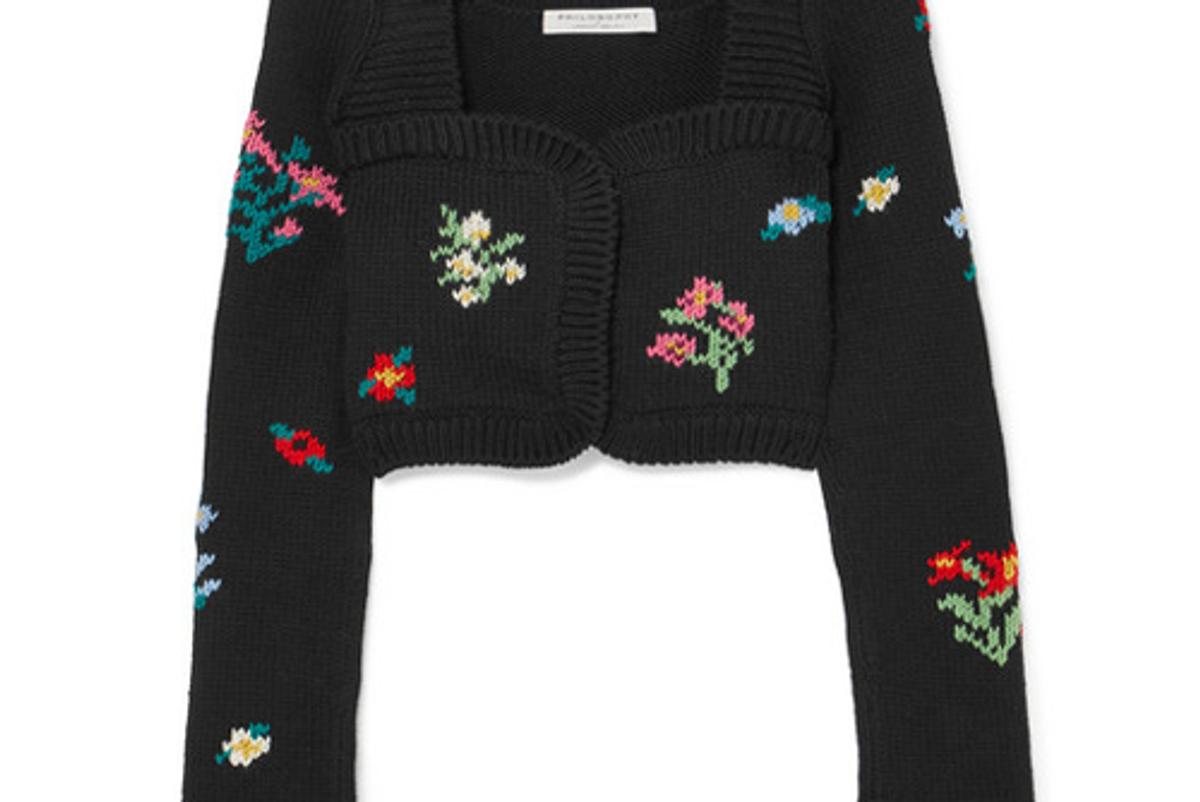 philosophy di lorenzo serafini cropped wool and wool blend cardigan