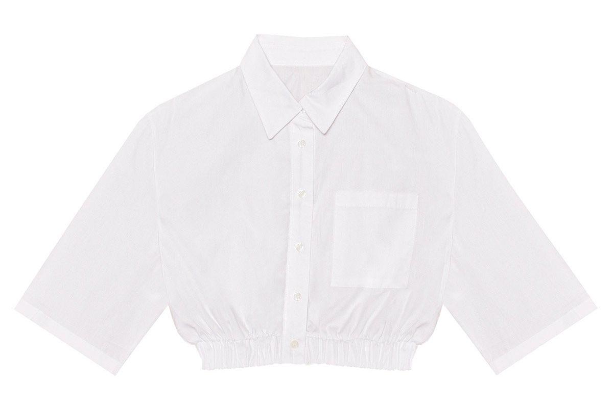 pixie market richie crop white shirt