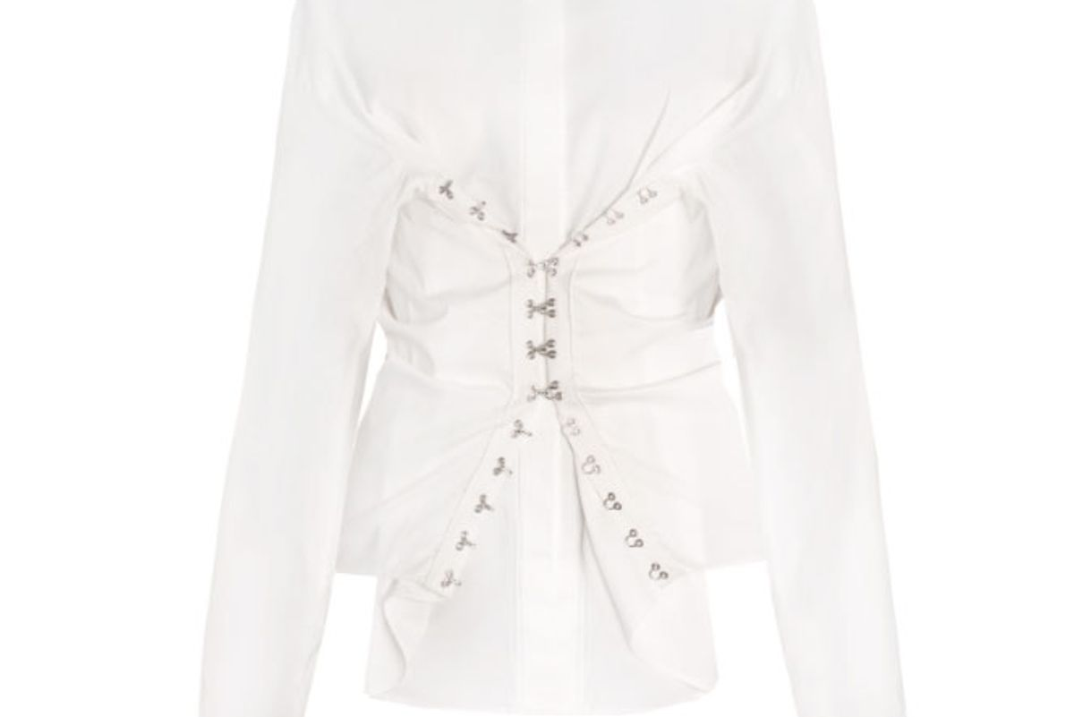 White Hook and Eye Corset Shirt