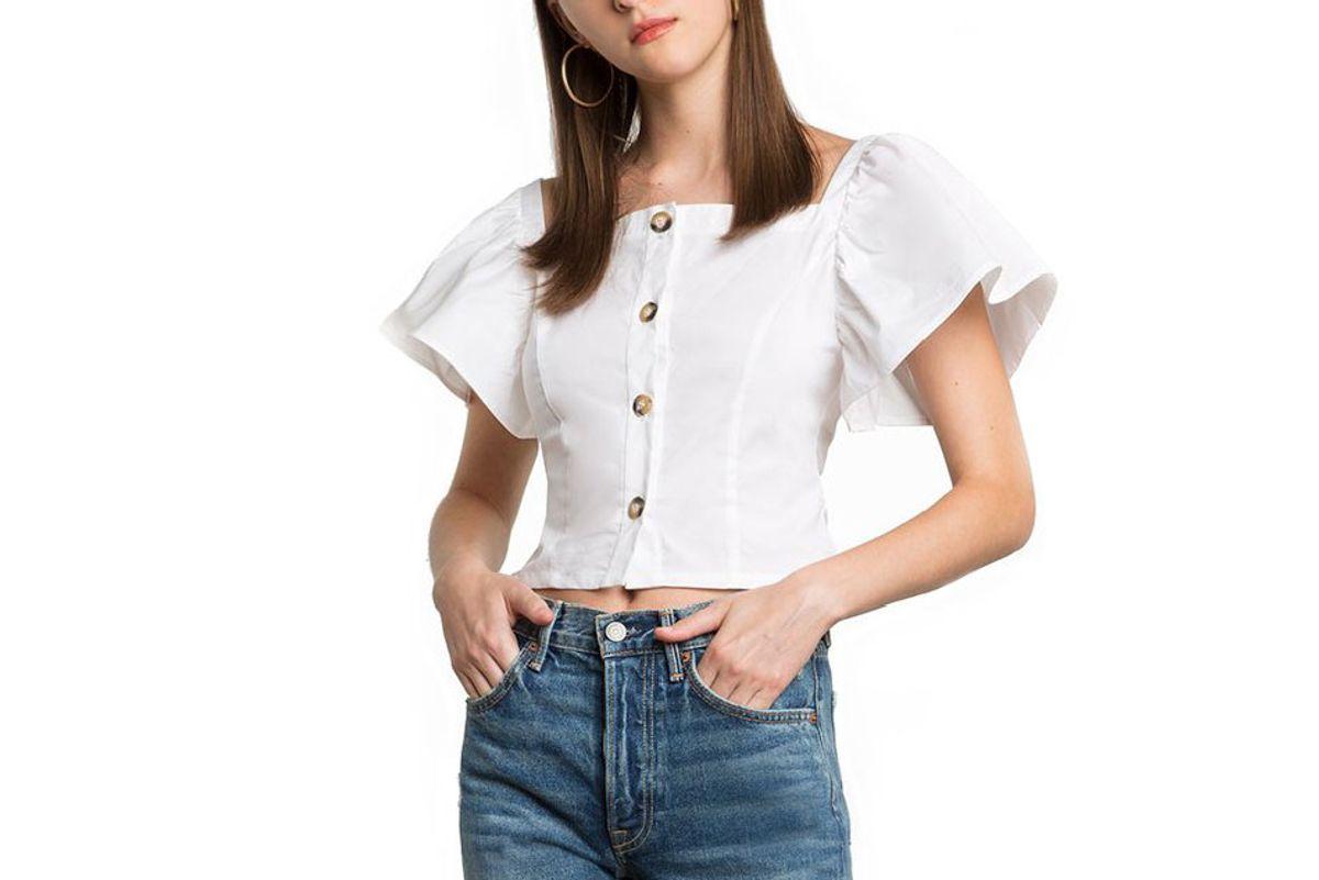 Gia Flutter Sleeve Button Top