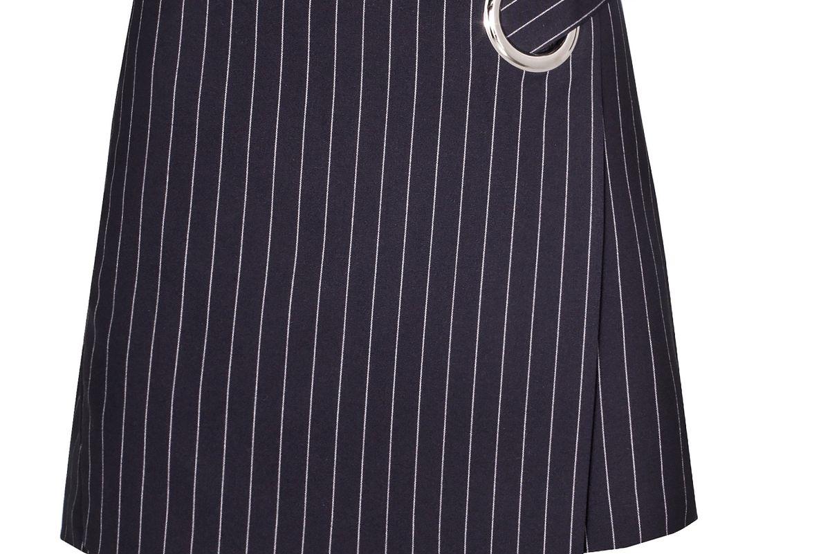 Navy Pinstripe Ring Mini Skirt