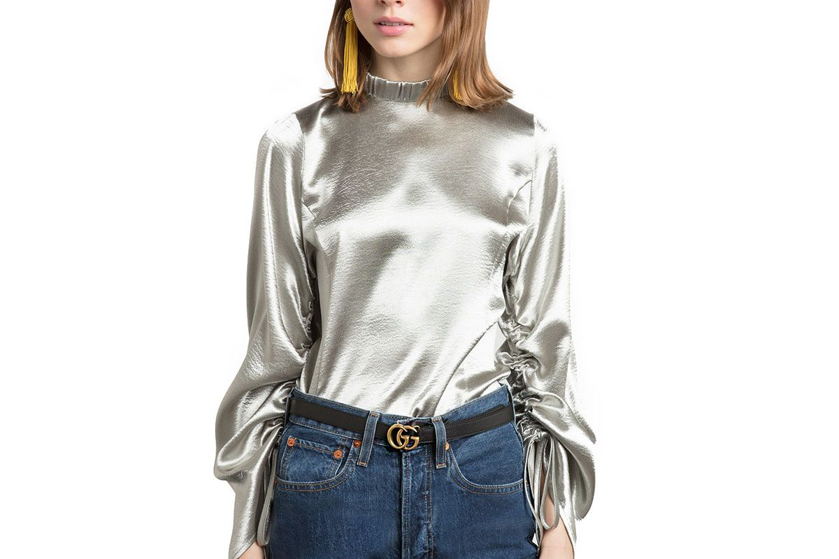 Silver Satin Ruched Sleeve Top