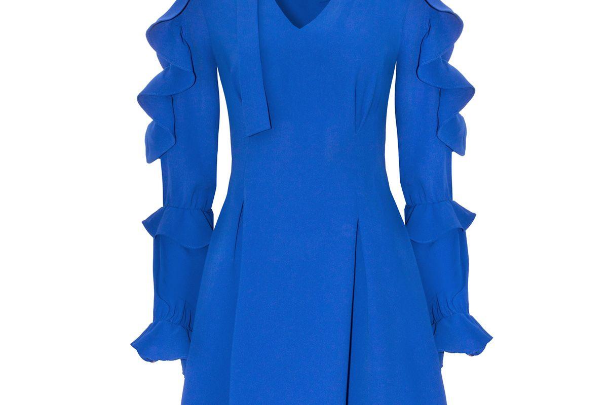 Sophie Blue Choker Ruffled Dress