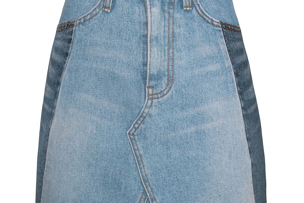 Two Tone Denim Mini Skirt