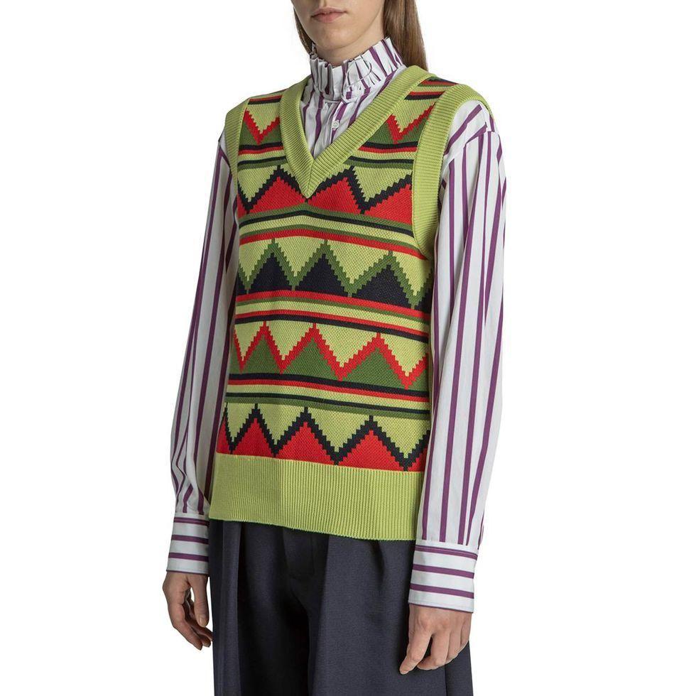 plan c ruffle neck striped shirt